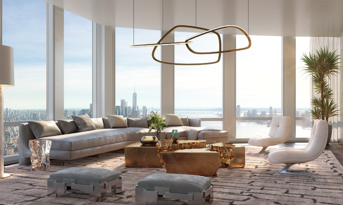 Living room with spectacular Hudson River views