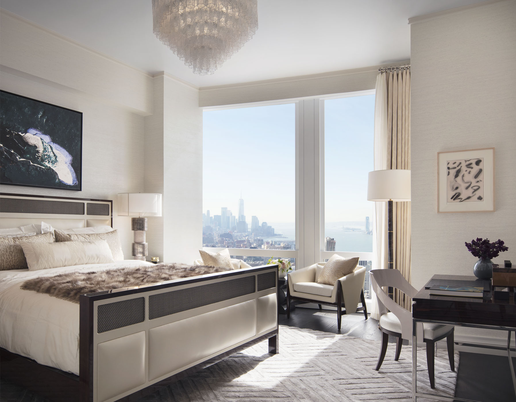 Sunny Master Bedroom with Hudson River views
